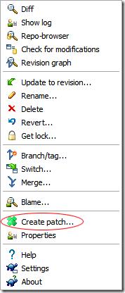 TortoiseSVN's righ click context menu